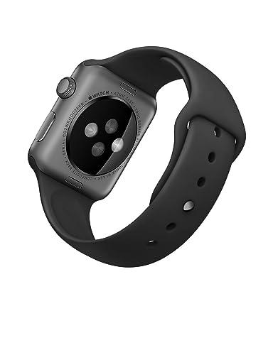 amazoncom apple 42mm smart watch space grey aluminum caseblack band cell phones u0026 accessories