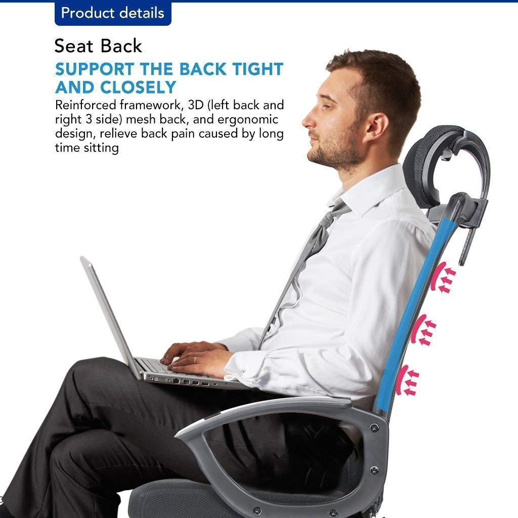 office owl Ergonomic Office Chair Adjustable Headrest Mesh Office Chair Office Desk Chair Computer Task Chair (Black) by Office Owl (Image #5)