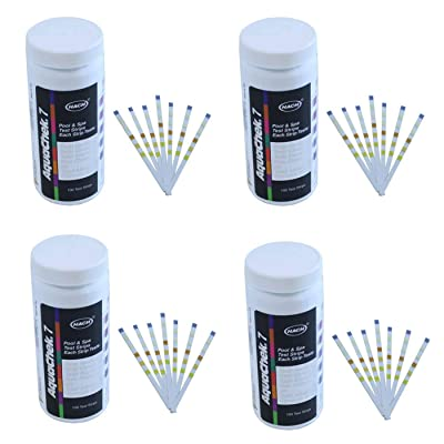 AquaChek Silver 7-Way 100 Count Pool And Spa Chlorine/pH Test Strips (4 Pack) : Garden & Outdoor