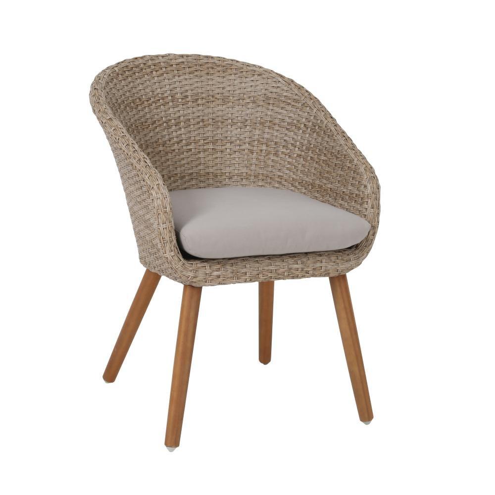 greemotion 4 Stück Stuhl Louisville aus Akazienholz/Kunststoffgeflecht, inkl. Auflagen, Designerstuhl, max. 110 kg, Sitzhöhe 51 cm, braun/grau