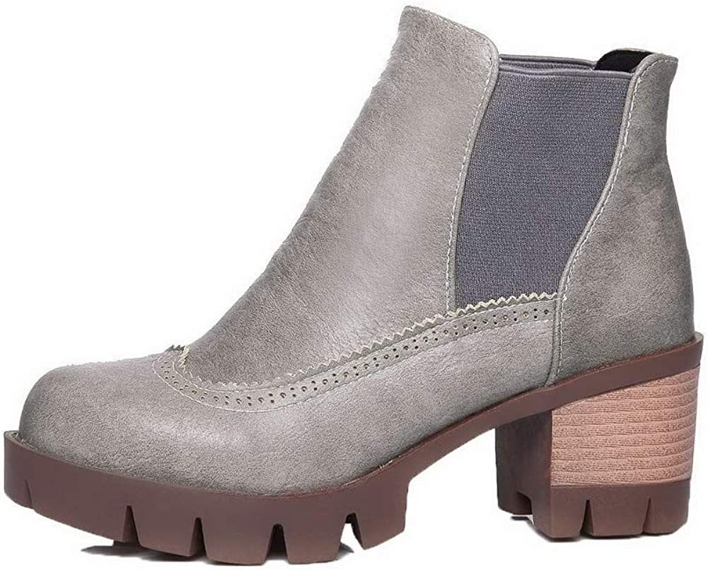 WeiPoot Womens Ankle-High Solid Pull-On Round-Toe Kitten-Heels Boots EGHXH110821