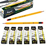 KUGELZ Writing Pencils 72/Set | Super #2 HB Premium Quality Yellow Wooden Pencil w/Dust-Free Eraser – 100% Non-Toxic and Durable – Best for Students, Kids, Teachers – Bulk Pack of 72 Sharpened Pcs