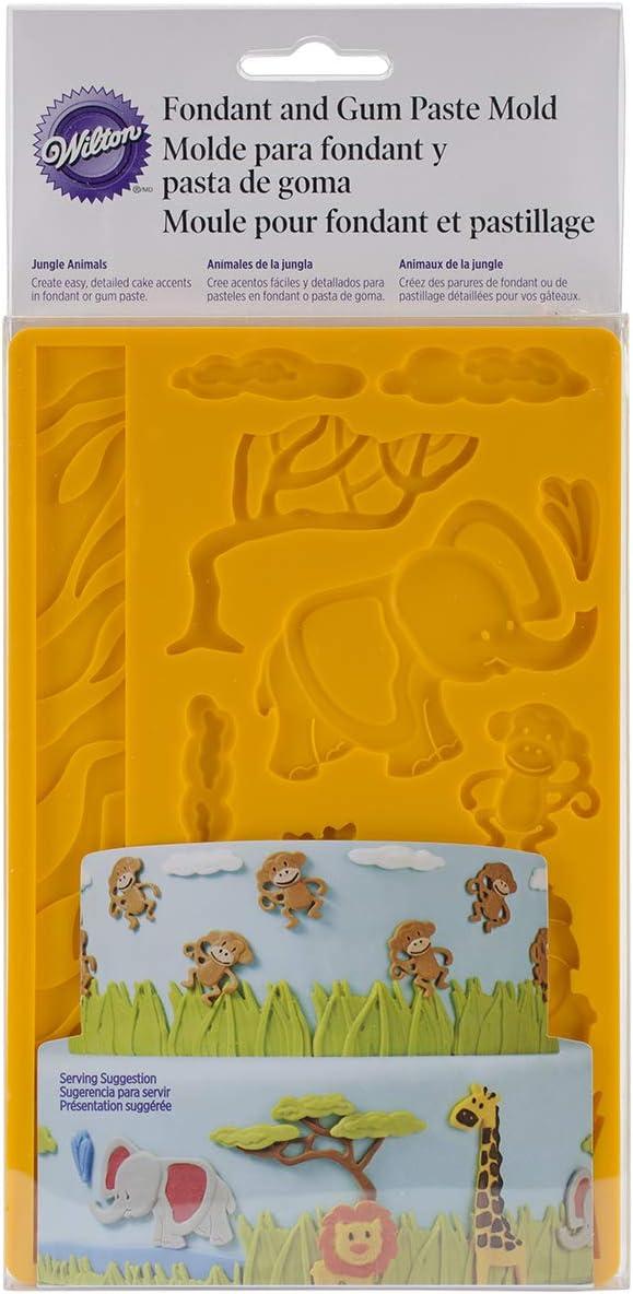 قالب تشكيل عجينة السكر والفوندان من ويلتون، برسمة حيوانات الغابة برتقالي داكن