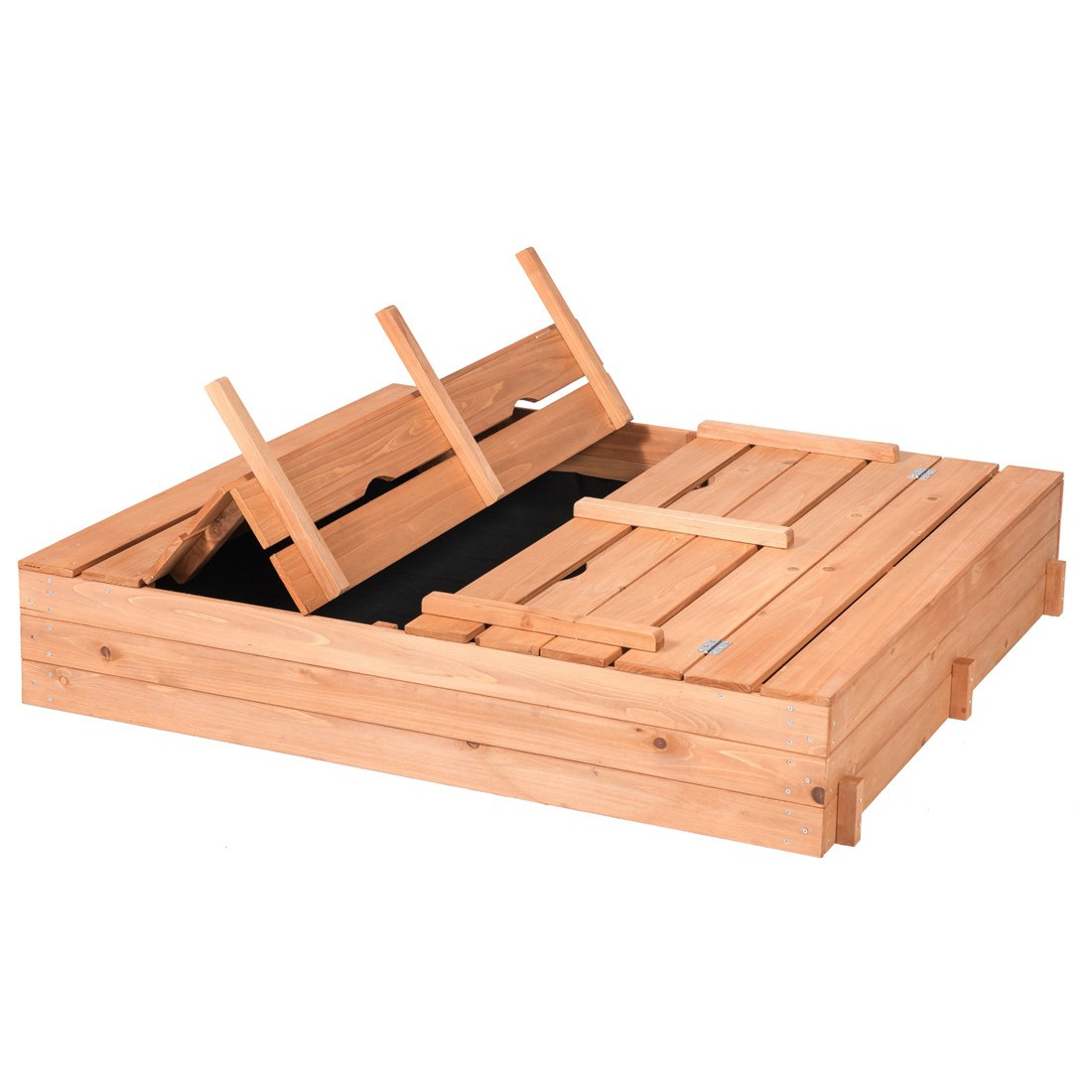 Good Life Outdoor Sandbox with Covered and Bench Seats Kids Play Sand for Sand Box Toys Wood Natural Color 47'' x 47'' Size by Good Life USA (Image #3)