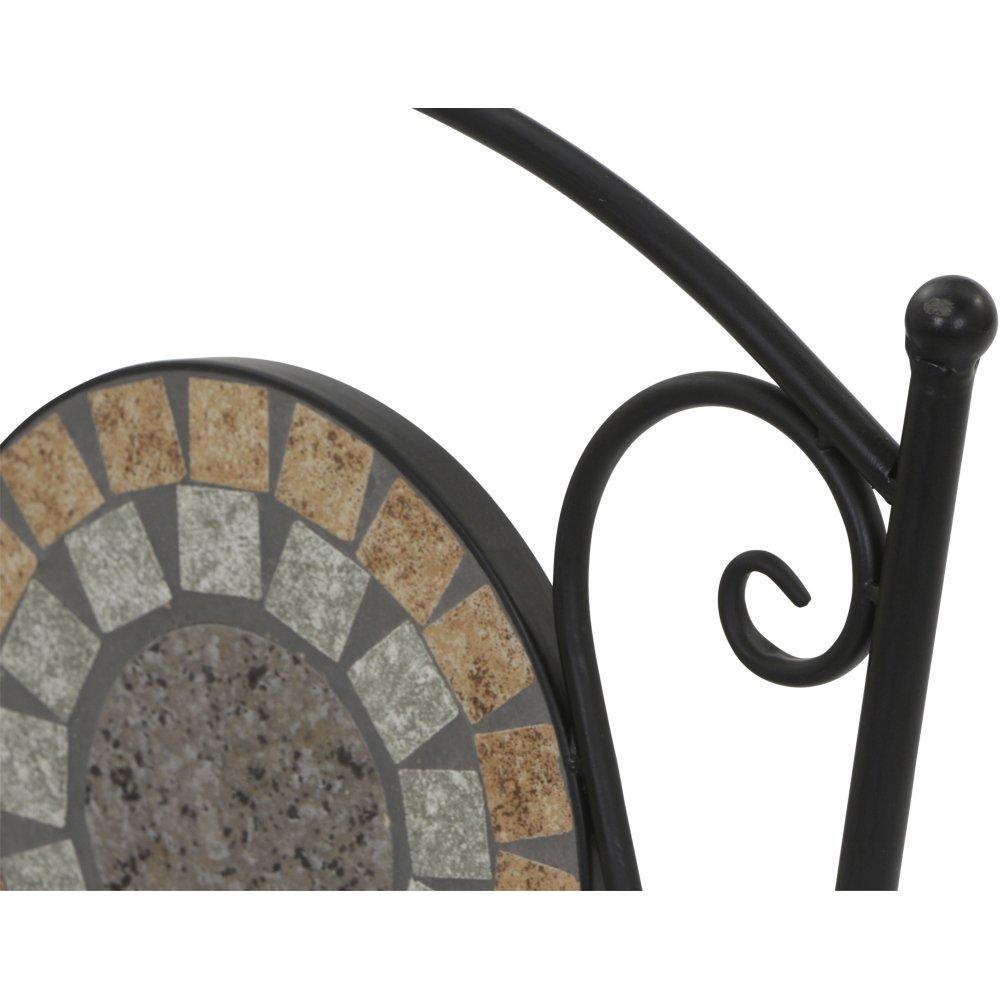 Fl/äche: Keramik in Mosaik 37x35x91cm Gestell: Stahl Siena Garden Klappstuhl Prato in schwarz matt