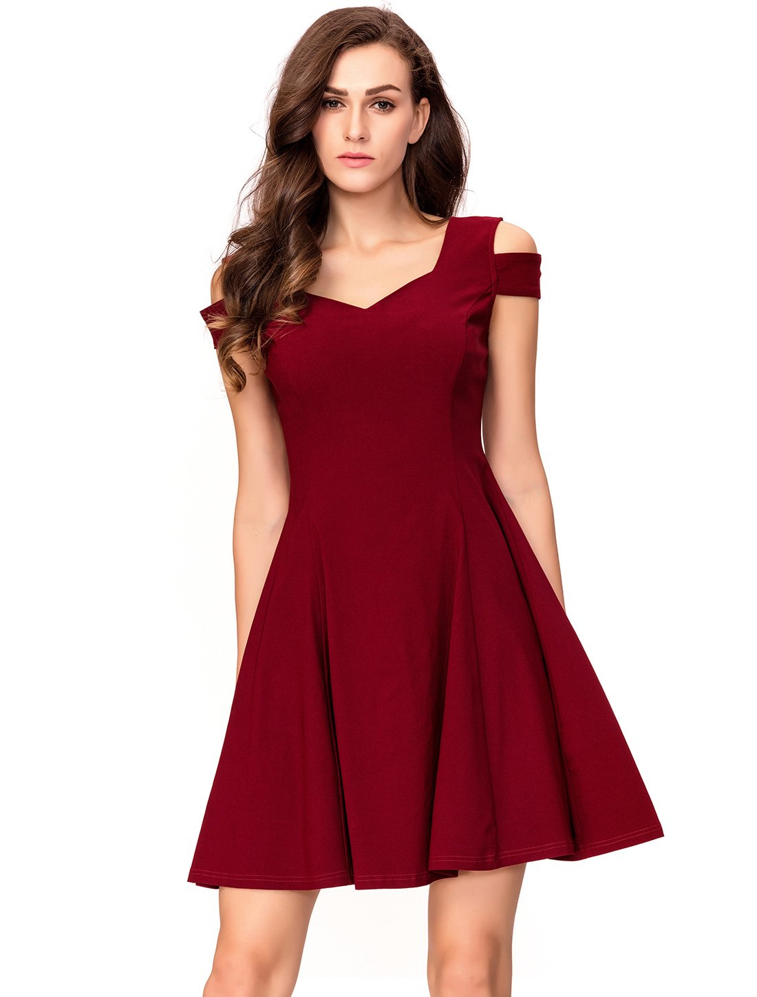 InsNova Women's Off Shoulder Little Cocktail Party A-line Skater Dress (X-Small, Burgundy)