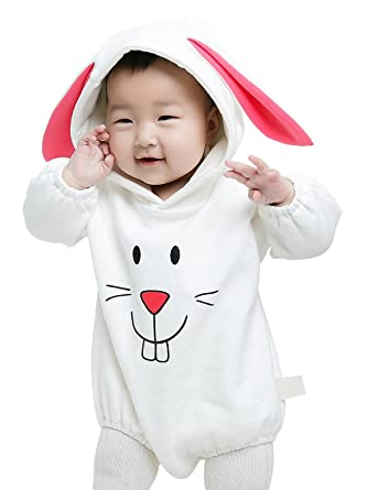 d82787350e6c4 GEMVIE Combinaison Bébé Fille Garçon Lapin Vêtement à Capuchon Mignon  Manches Longues Pyjama Costume de Déguisement