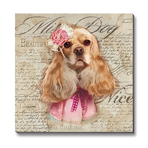 3Hdeko-Animal Dogs Canvas Wall Art Puppy English Cocker Spaniel with Glasses Modern Printed Artwork for Children's room Decor,12x12 inch,Stretched,READY TO HANG!