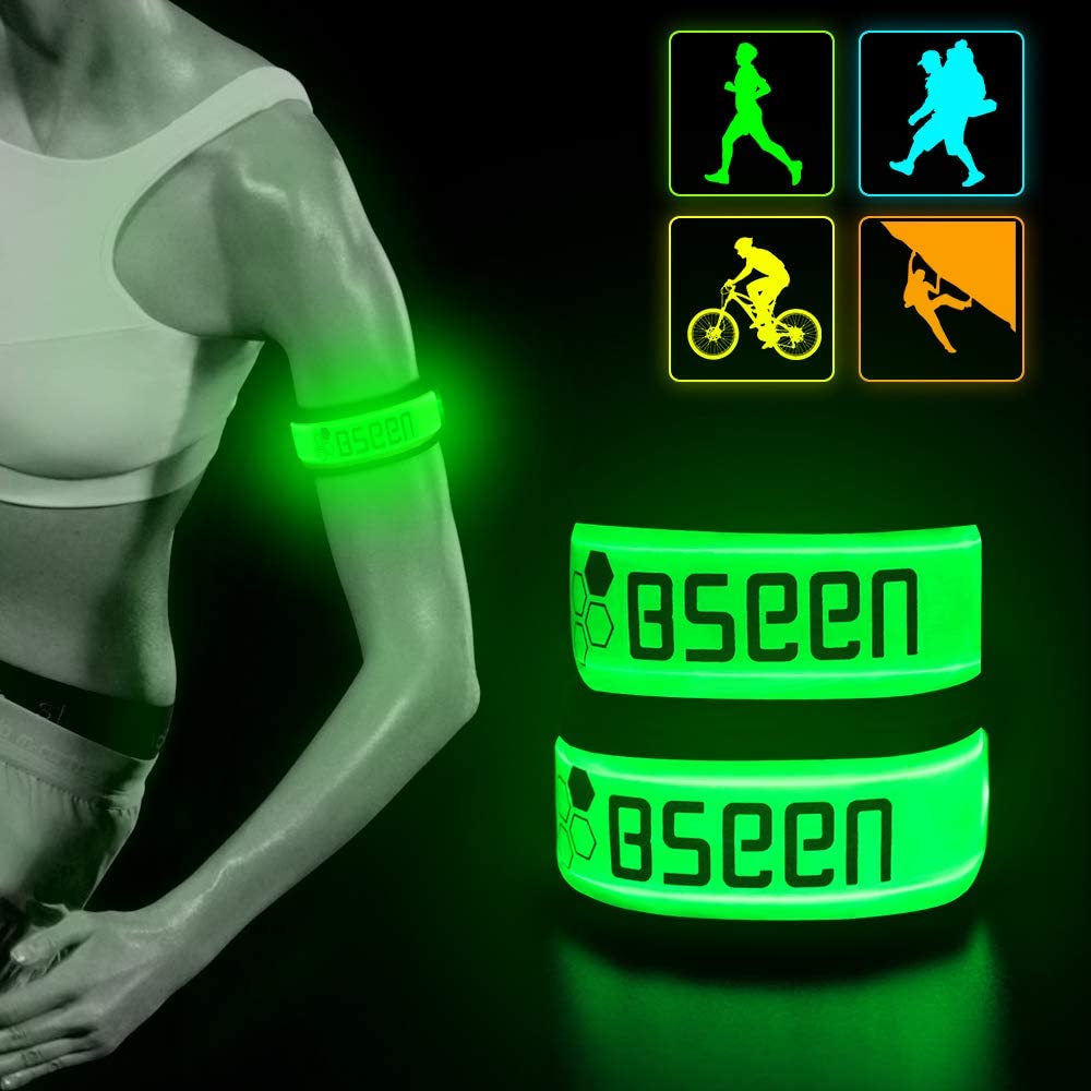 BSEEN LED Armband LED Slap Bracelets, Adjustable Strap Safety Light Armbands Glow in The Dark Night Running Gear for Jogging, Walking, Cycling, Camping Outdoor Sports