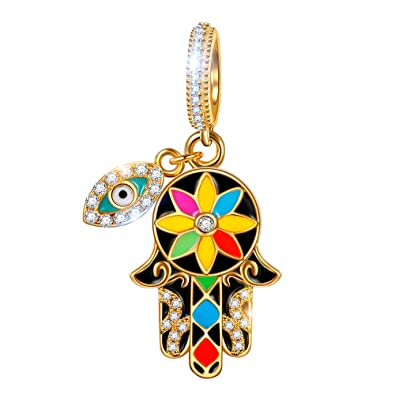 5d50d5385 NINAQUEEN Hamsa Hand and Evil Eyes 925 Sterling Silver Lucky Dangle Charm  Pendant Charm Fit Pandöra