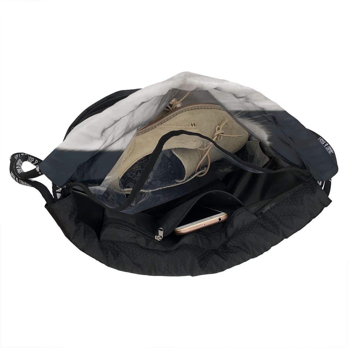 Zol1Q Lightweight Waterproof Large Storage Drawstring Bag for Men /& Women White Cat Cinch Backpack Sackpack Tote Sack