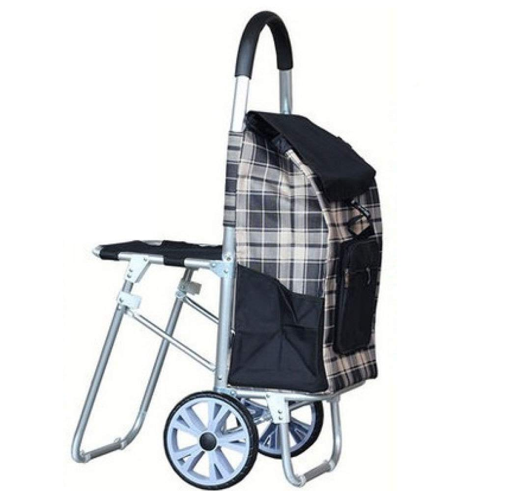 Trolley Shopping Folding Portable with Seat, Black