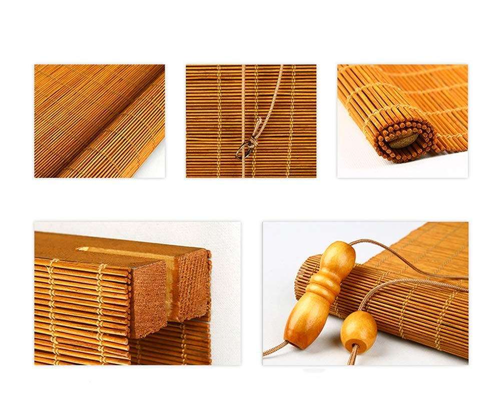 Color : D, Size : 45/×120cm ZAQ Bambusrollo Rollos 30cm // 35cm // 40cm // 45cm Wide Roller Shade Leichtes Filtern Rollladen mit Volant Bambus