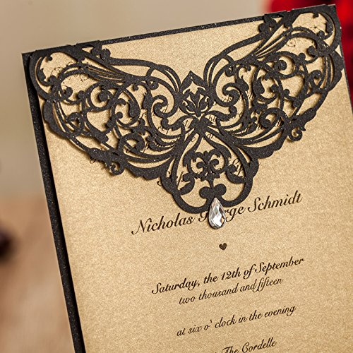 Luxury Rhinestone Gem Diamond Floral Wedding Invitations Elegant Black Laser Cut Party Decorations Friend Cards LA825 (100) by Wishmade (Image #3)
