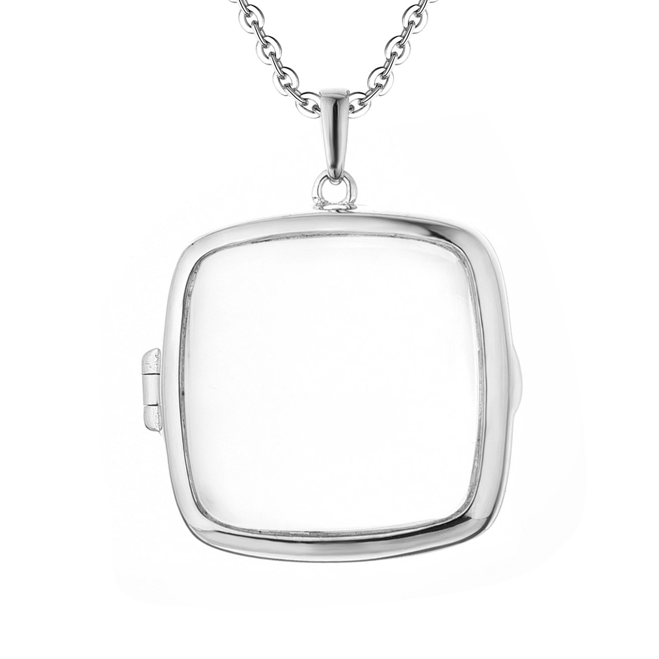 Sterling Silver-Glass-Custom Photo Locket Necklace-34-inch chain-The Katie by With You Lockets