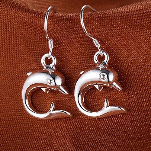 Moda joyas conjuntos de collar para las mujeres niñas bañado en plata Animal delfín colgante collar pendientes set regalos