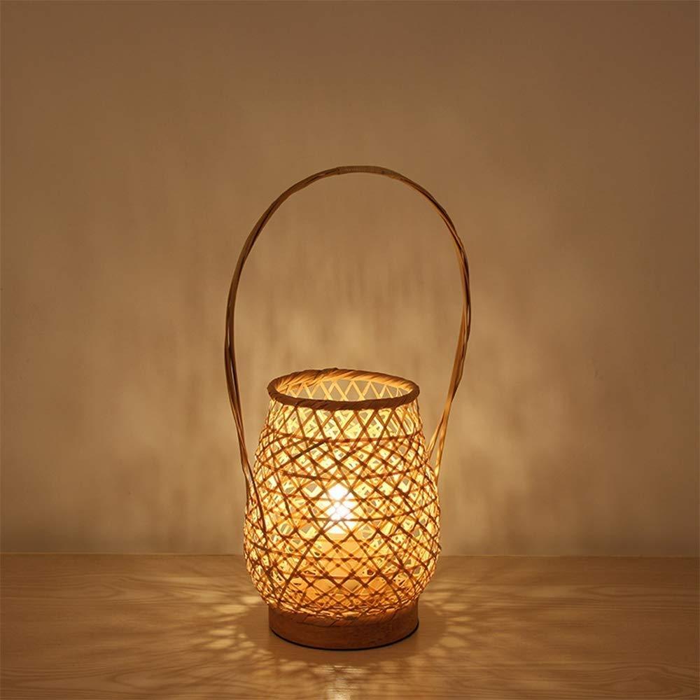BeiMi Bamboo Table Lamp, Bamboo Lamp Open Lamp - Creative LED Wooden Bedroom Bedside Lamp E27-retro Lantern Hotel Restaurant Basket Bamboo Lamp Decoration Lamp (40 17Cm)
