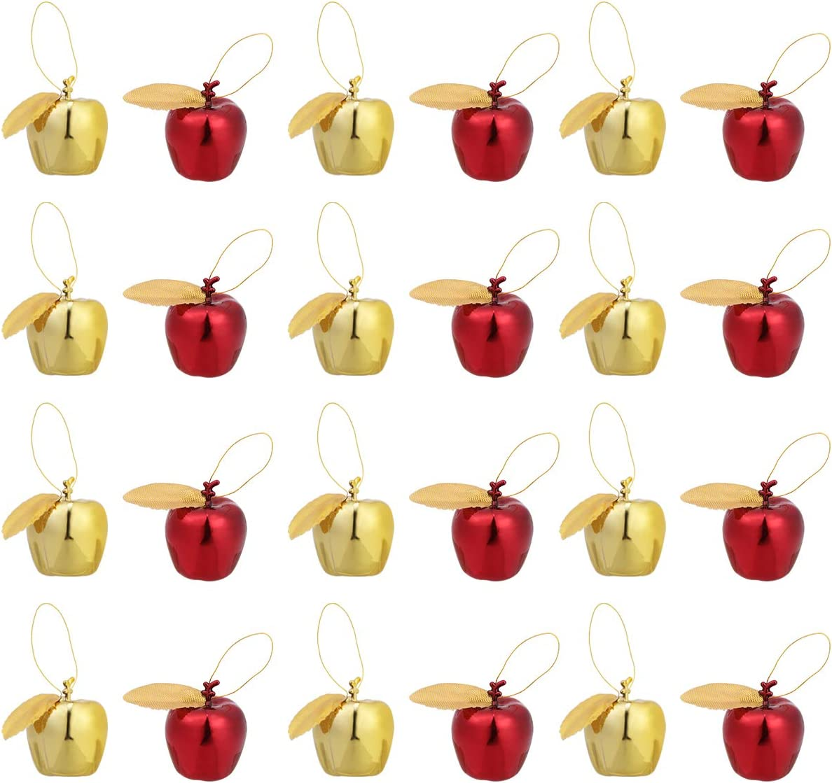 Amosfun 24pcs Christmas Hanging Ornaments Plastic Simulation Apple Hanging Pendant for Christmas Tree Decorations (Golden Red)
