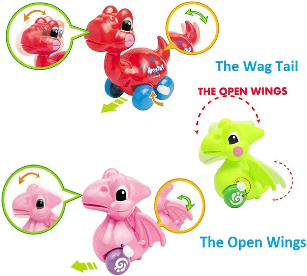 Partyin Dinosaur Toys for 2-3 Year Old Kids,Basket Stocking Stuffers 4-Pack Dinosaur Cars in Easter eggs Wind-up Toys for Kids Party Favors,Birthday Party Supplies Favors-Random Color