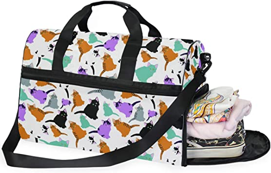 AHOMY Musical Note Sports Gym Bag with Shoes Compartment Travel Duffel Bag