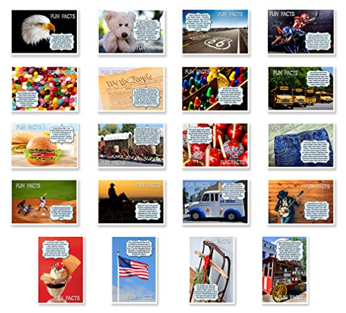 AMERICANA FUN FACTS postcard set of 20 postcards. Iconic America and American culture post card variety pack. Made in USA.