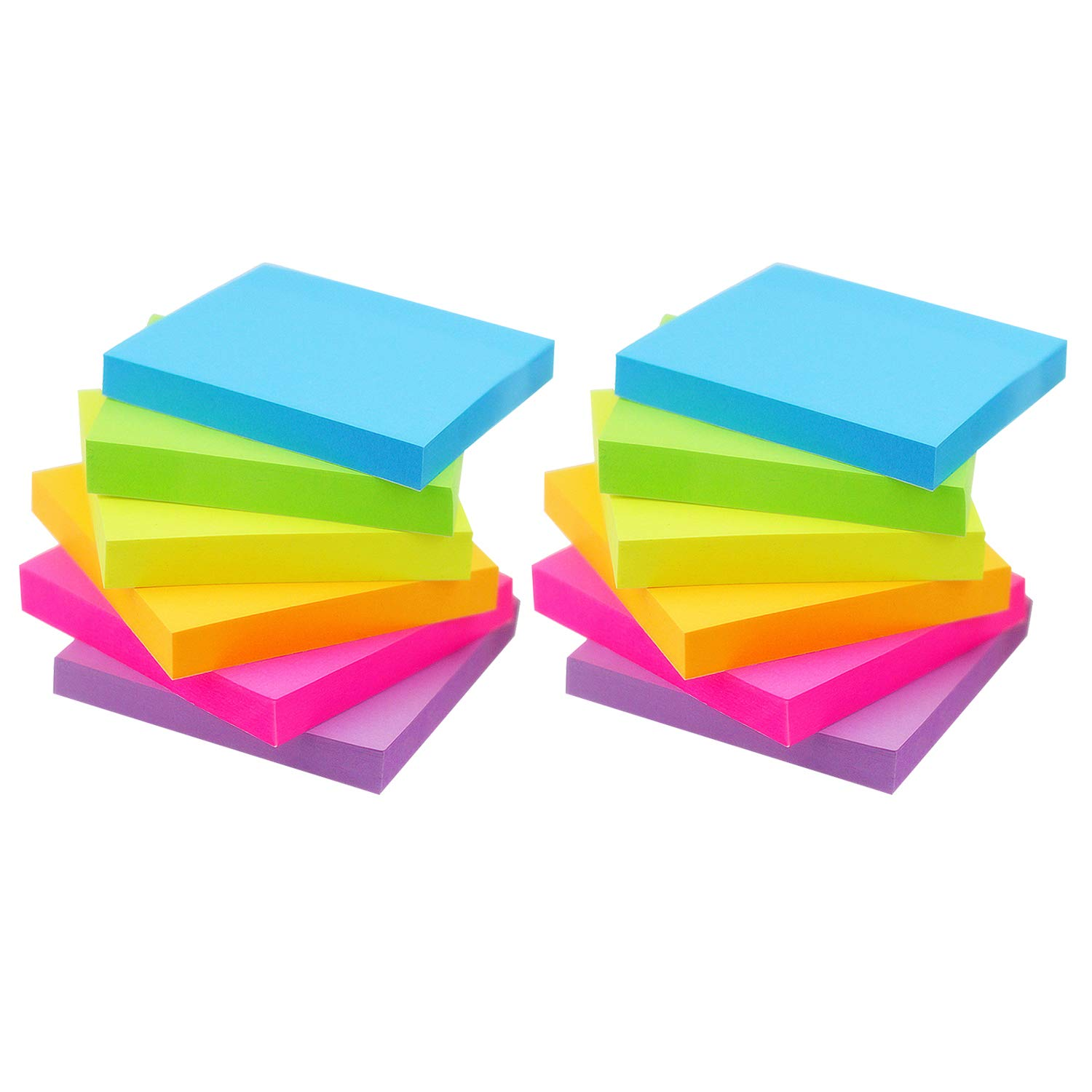Early Buy Sticky Notes 6 Bright Color 12 Pads Self-Stick Notes 3 in x 3 in, 100 Sheets/Pad (12)