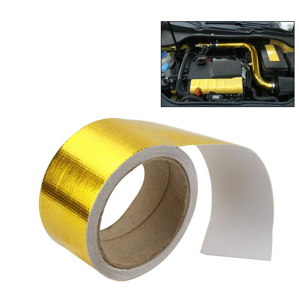 Meiyiu 2 5M Aluminum Reinforced Tape Adhesive Backed Heat Shield Resistant Wrap Intake silver