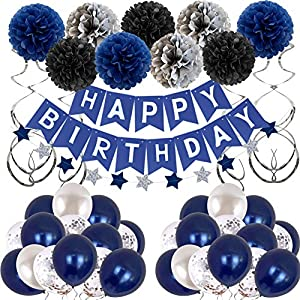 Best Epic Trends 61is4rk7wNL._SS300_ Birthday Decorations Men Blue Birthday Party Decorations for Men Women Boys Grils, Happy Birthday Balloons for Party…