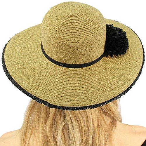 "C.C Pom Pom Wide Brim 4"" Summer Derby Beach Pool Floppy Dress Sun Hat"