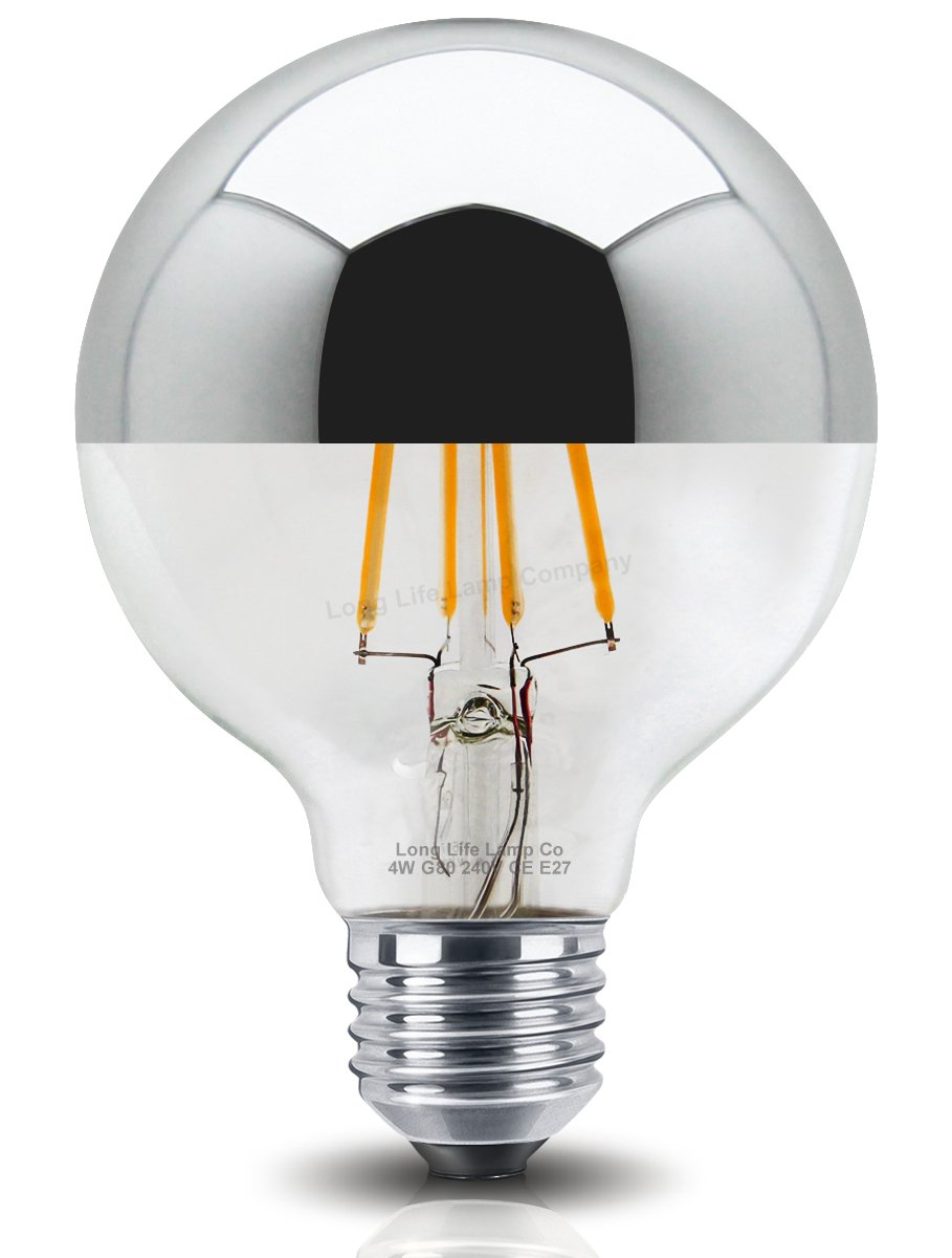 Best Light Bulbs For Bathroom: 4W LED G80 Crown Silver Light Bulb Unique Mirror Top Style