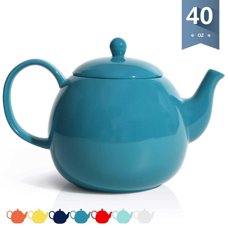 Sweese 220.107 Porcelain Teapot, 40 Ounce Tea Pot - Large Enough for 5 Cups, Steel Blue