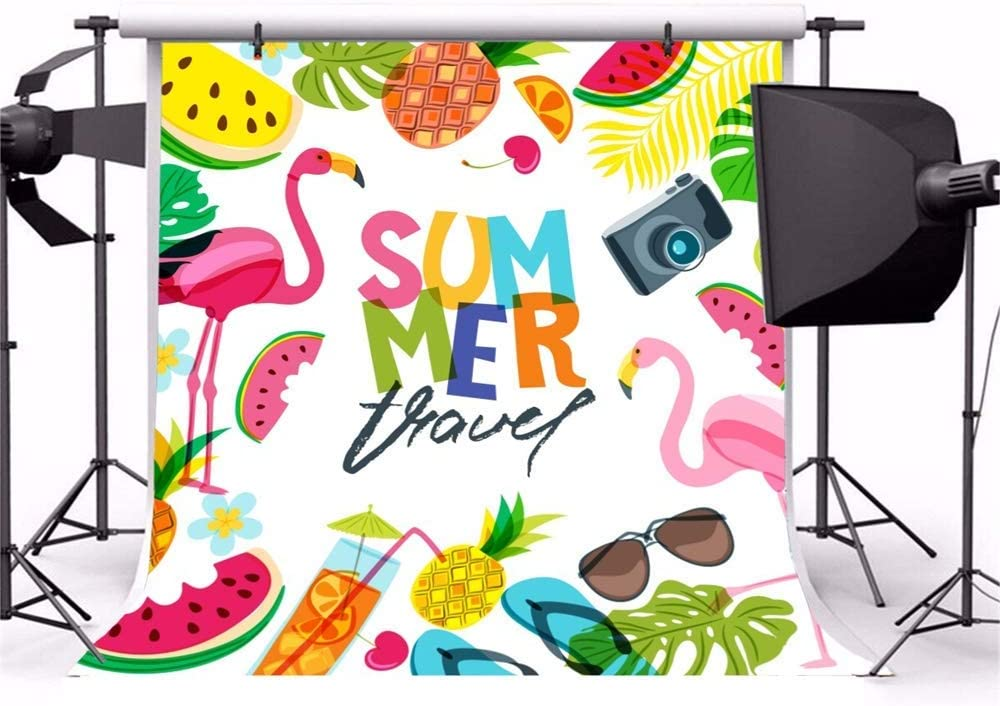 7x7ft Summer Travel Polyester Photography Background Cartoon Cute Flamingo Tropical Leaves Summer Fruits Camera Beverage Illustration Backdrop Summer Party Wallpaper Studio Props