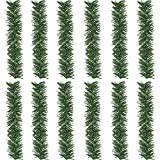 Supla 12 Pcs Artificial Christmas Wired Pine Garland Ties Faux Pine Greenery Stems Decorative Garland Twist Ties 12' x 2' (LXW) in Green for Holiday Season Decorations Christmas Craft Gift Wrapping