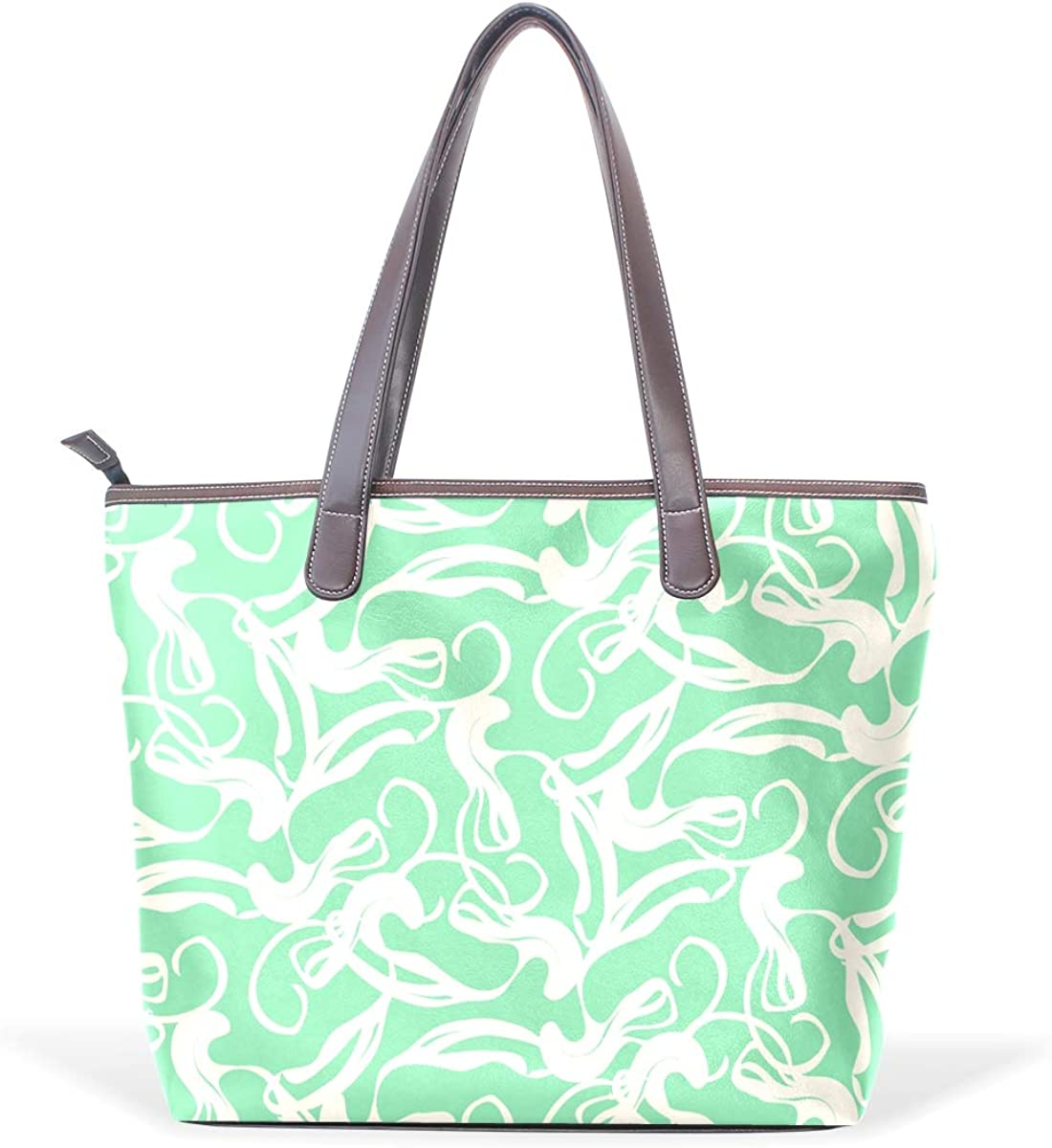 Green Marble PatternWomens Vintage Leather Tote Urban Style Satchel Tote