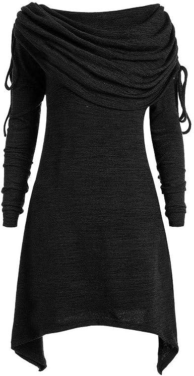 Talla Extra Sudadera Sin Capucha Mujer Largo Blusas Camiseta de Manga Larga Cuello Redondo Suelto Túnica Casual Basic Pull-Over Tops Color Sólido Túnica de Cuello Plegable riou: Amazon.es: Ropa y accesorios