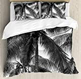 Ambesonne Palm Tree Duvet Cover Set King Size, Palm Tree Silhouette Exotic Plant on Dark Theme Foliages Relaxing in Nature Image, Decorative 3 Piece Bedding Set with 2 Pillow Shams, Black