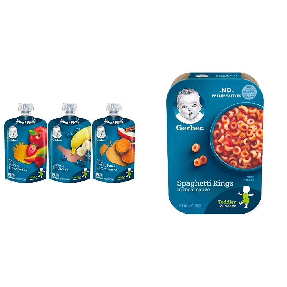 Gerber Assorted Fruit Toddler Pouch Variety Pack (Pack of 18) & Spaghetti Rings in Meat Sauce, 6 Ounce (Pack of 6)