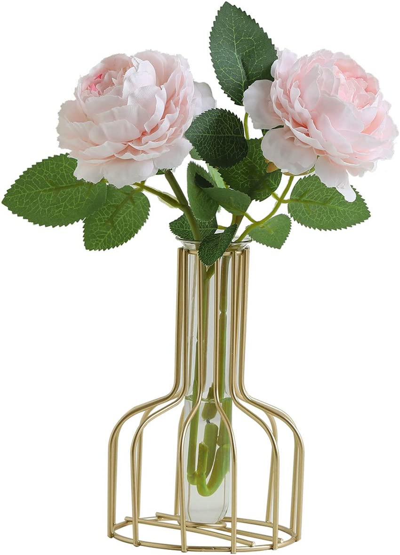 Crelife Artificial Flower Light Pink Rose with Golden Birdcage & Bottle Ins Style Flower Arrangements in Glass Vase for Wedding Desk Home Décor