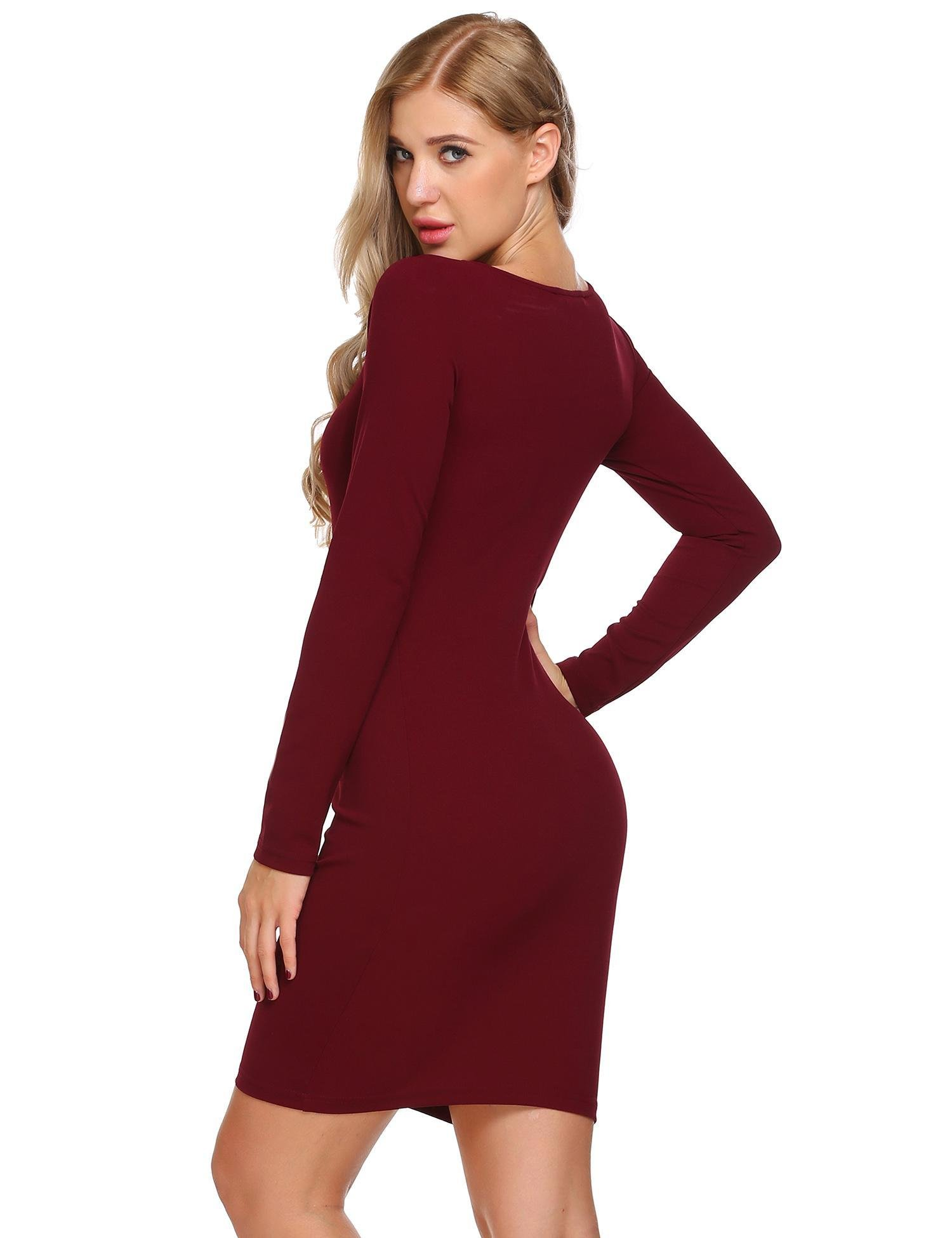 DREZZED Women U Neck Long Sleeve Solid Slim Fit Bodycon Mini Dress Wine Red
