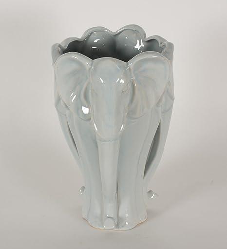 White Glazed Ceramic Elephant Vase Height 32cm Amazon