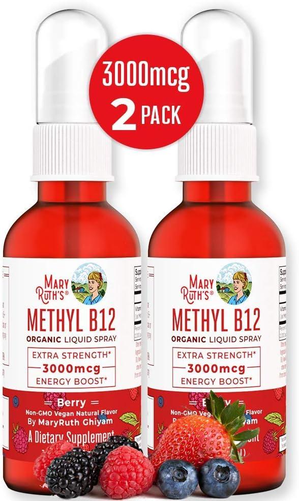 Organic Vitamin B12 (Methyl) Liquid Sublingual Spray by MaryRuth Energy Boost - Sugar Free - Non-GMO Vegan - Gluten Free - Paleo - Bariatric & Celiac Glass Bottle 1oz-3000 mcg (Extra Strength 2 Pack)