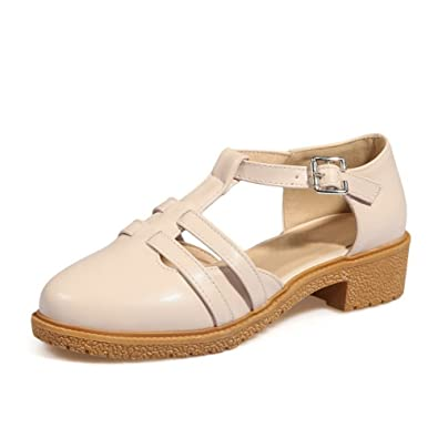 abacc6d794545a WeenFashion Women s Solid Soft Material Low Heels Buckle Closed Toe Sandals