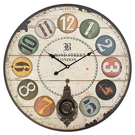 Reloj de pared grande Ronda Número reloj con péndulo funciona con pilas 58 cm.: Amazon.es: Hogar