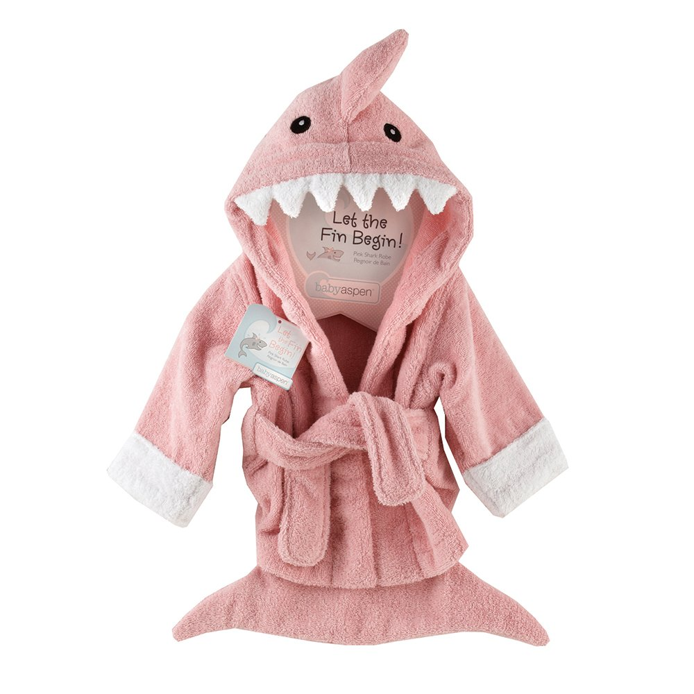 Baby Aspen ''Let the Fin Begin''  Shark Robe, Pink, 0-9 Months by Baby Aspen