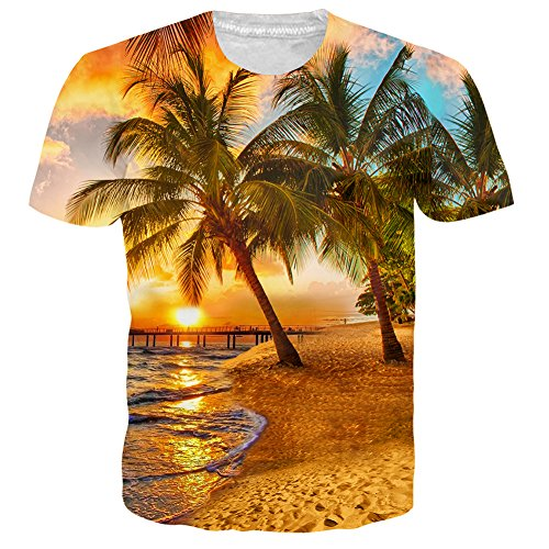 Mens Classic Palm Tree Hawaiian T-Shirt Crew Neck Short Sleeve Summer Tees Sunset M