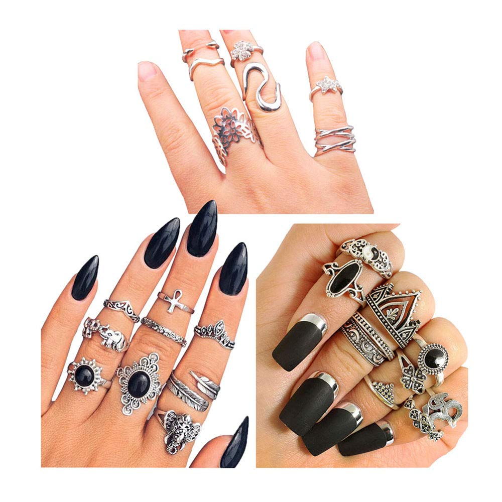 YOUGKING Vintage Knuckle Ring Set Pack of 3 Sets Stackable Rings Finger Rings Punk Ring for Women Girls (Silver, 26 Piecest)