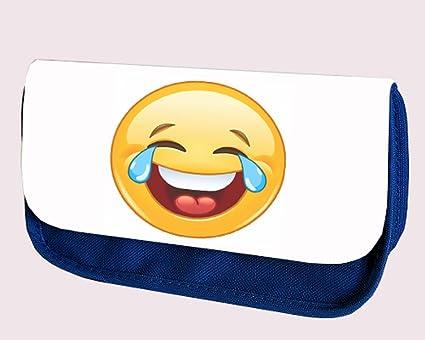 Emoji Smiliey azul estuche (lágrimas de alegría): Amazon.es: Oficina y papelería