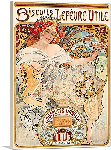 ARTCANVAS Biscuits Lefevre Utile 1900 Canvas Art Print by Alphonse Mucha- 18