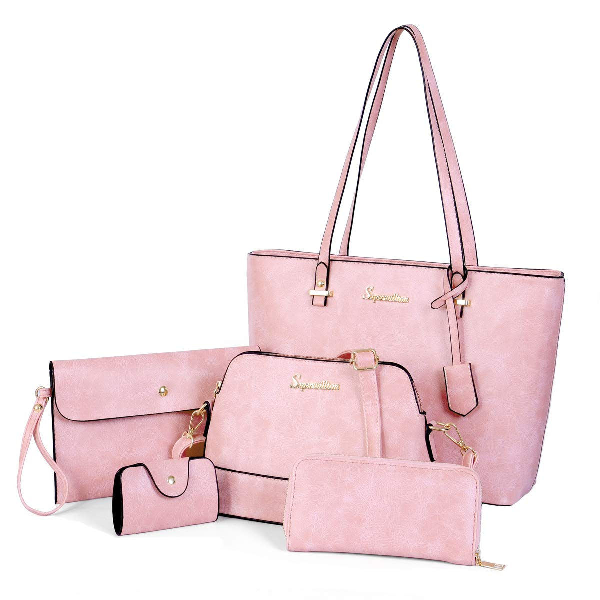 Soperwillton Handbag Set for Women Tote Purse and Handbags Satchel Shoulder Bag 5pcs Purse Set