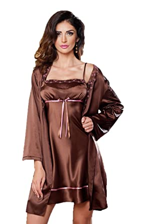 4e932e523c Sexy Brown Chocolate Satin Dressing Gown Kimono Robe Nightwear Gift for Her  8 10 12 14 16 18 UK  Amazon.co.uk  Clothing